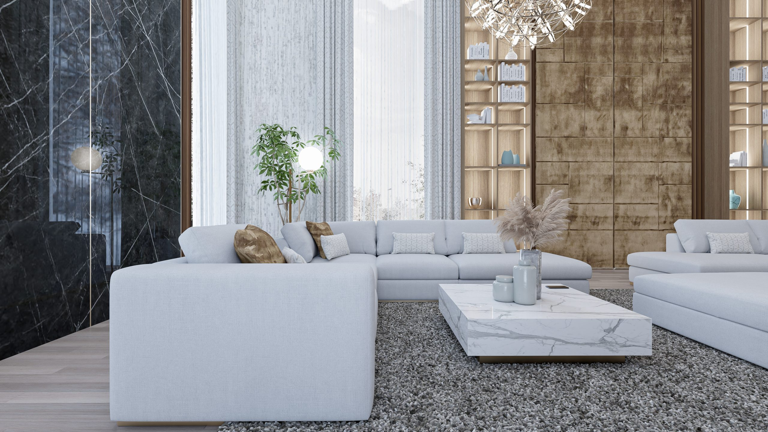 navrh dizajn realizacia interier na mieru obyvacia izba luxusna mramor cierny pohlad sedacku